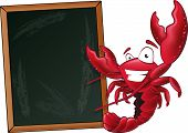 stock photo of waving  - Great illustration of a happy lobster waving his pincers in the air next to a chalkboard - JPG