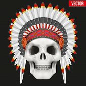 foto of indian chief  - Human skull with Military indian chief hat - JPG