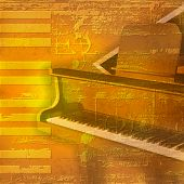 foto of grand piano  - abstract yellow grunge background with grand piano - JPG