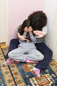 stock photo of child abuse  - Two Young Sisters Crying - JPG