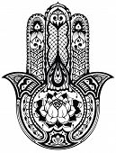 stock photo of indian  - Vector Indian hand drawn hamsa symbol - JPG