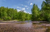 picture of siberia  - Sunny day on the banks of a small river in the foothills of the Kuznetsk Alatau. Khakassia. Siberia. ** Note: Soft Focus at 100%, best at smaller sizes - JPG