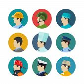stock photo of firemen  - Set of profession icons isolated in circle - JPG