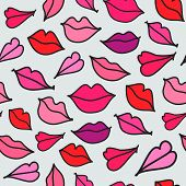 stock photo of hand kiss  - vector red hand drawn kisses lips seamless background - JPG