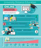 image of exams  - Online education infographics set with training exam diploma symbols and statistic charts vector illustration - JPG