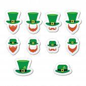 stock photo of leprechaun hat  - Vector icons set of Leprechaun - JPG