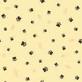 pic of footprint  - Cat theme seamless pattern with heart shaped animal paw footprints and claw scratches - JPG