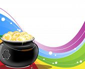 picture of gold panning  - Gold coins and Leprechaun pot on rainbow background - JPG