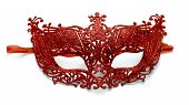 picture of venetian carnival  - Red lacy carnival mask on white background - JPG