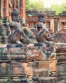 stock photo of guardian  - Angkor Banteay Srei temple guardian statues - JPG