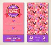 picture of easter card  - Vintage Happy Easter Greeting Card Design - JPG