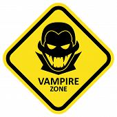 stock photo of vampire bat  - Vector sign with vampire icon and text - JPG