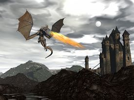 stock photo of dragon  - Dragon spitting fire upon old castle by night  - JPG