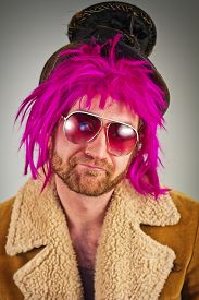 picture of bum  - Pink haired bearded bum cool hipster lunatic man - JPG