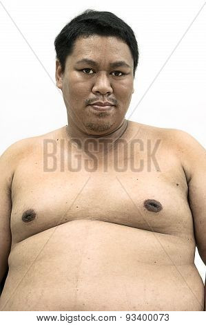 Fat Naked Upper Body And Belly Stomach Of An Asian African Man Showing Proud Expression On His Face
