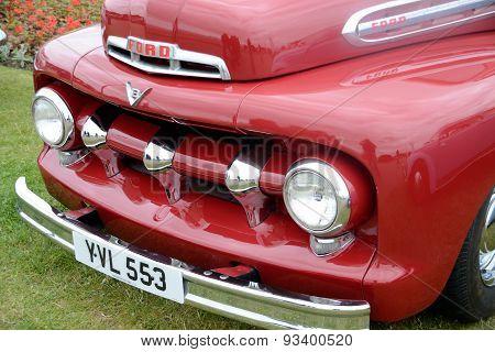 front of vintage car