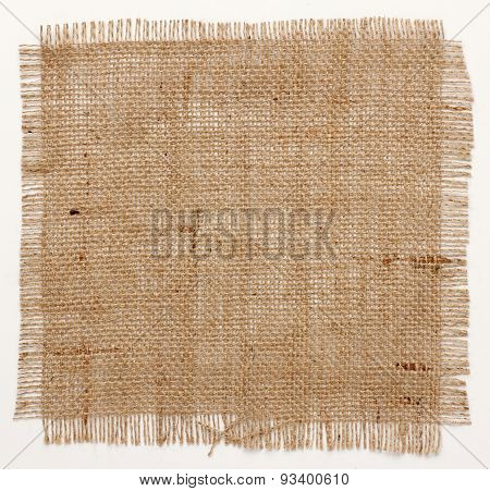 Texture Of Burlap Hessian Square With Frayed Edges