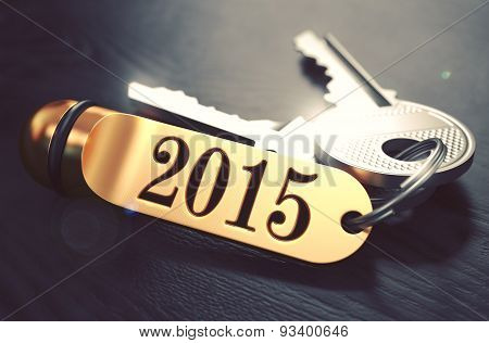 2015 - Bunch of Keys with Text on Golden Keychain.