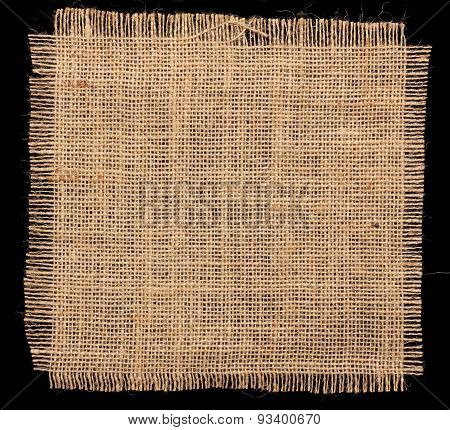 Texture Of Burlap Hessian On Black Background