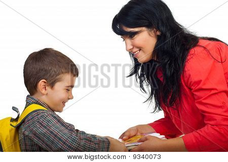 Mother Give Books To Her Son Schoolboy