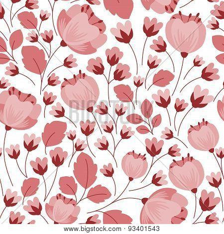 Retro pastel pink floral seamless pattern