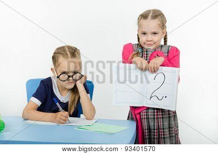 Upset Schoolgirl Did Not Fulfill Task And Got Deuce