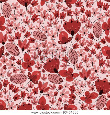 Retro delicate field flowers seamless pattern