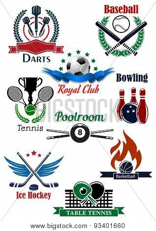 Sporting game emblems with heraldic elements