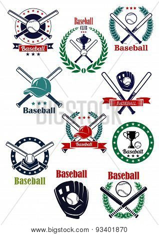 Baseball game retro emblems and icons
