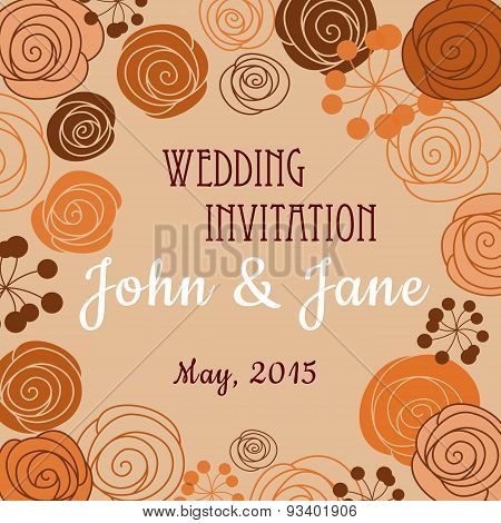 Wedding invitation template with floral border