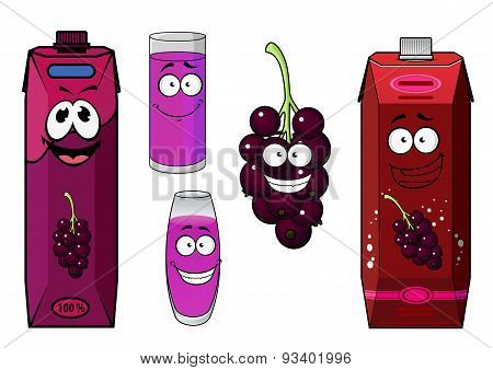 Happy black currant juice cartoon characters