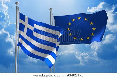 Greece and European Union flags flying together for diplomatic talks
