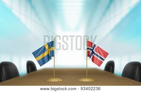 Sweden and Norway relations and trade deal talks 3D rendering