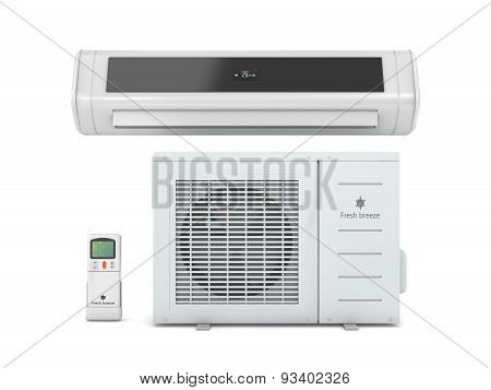Air Conditioners With Remote Control On A White Background.