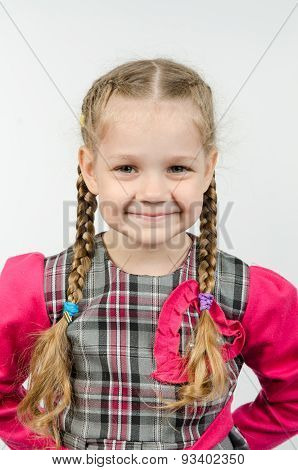 Half-length Portrait Positive Four-year Girl
