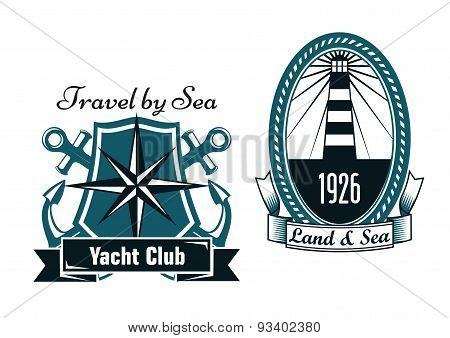 Marine emblems with lighthouse and compass