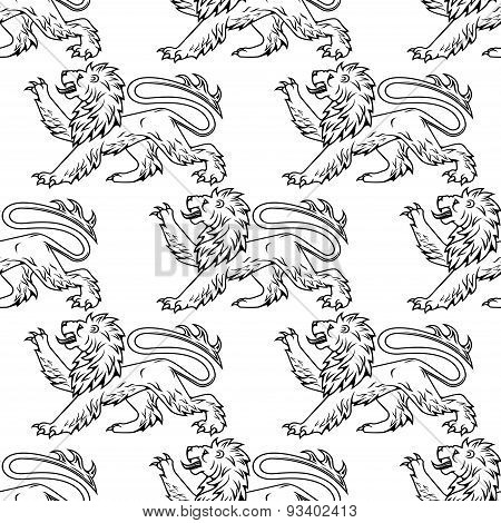 Outline heraldic lions seamless pattern