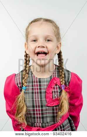 Half-length Portrait Of A Smiling Girl Four Years