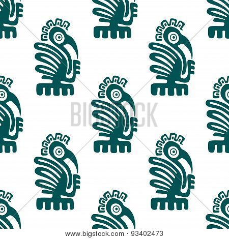 Ancient american indian birds seamless pattern