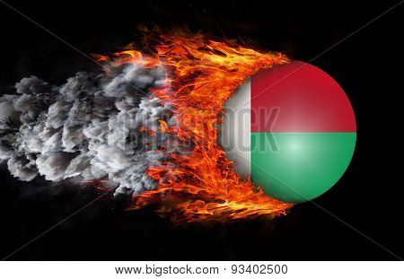 Flag With A Trail Of Fire And Smoke - Madagascar