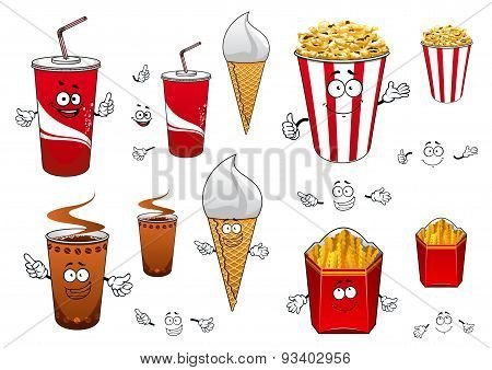 Fast food and drinks cartoon characters