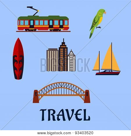 Australian travel and journey flat symbols