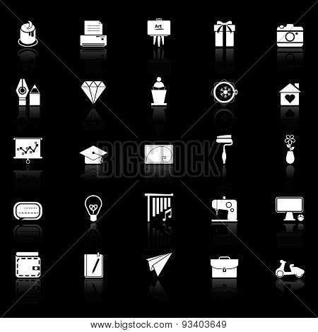 Art And Creation Icons With Reflect On Black Background