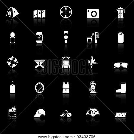 Camping Necessary Icons With Reflect On Black Background