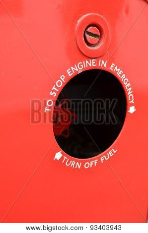 Emergency engine stop sign