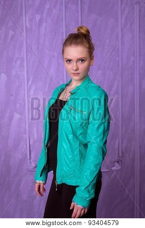 Portrait Of A Young Woman In Blue Jacket