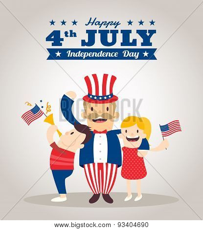 Uncle Sam Cartoon With Kids, Happy 4Th Of July Independence Day Celebration
