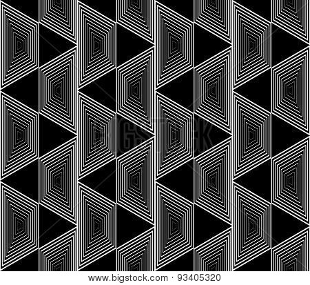 Design Seamless Monochrome Trapezium Geometric Pattern