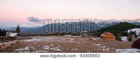 Romantic Sunset In Mountain