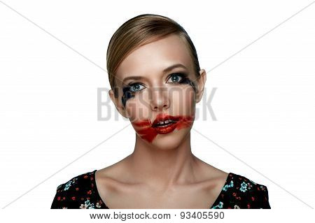 Beauty Girl With Smeared Red Lipstick On Open Mouth.